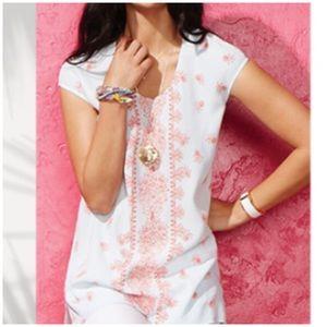 Cabi • serene tunic top in handkerchief print